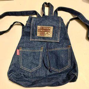 Denim Backpack, faith inscribed, NWOT